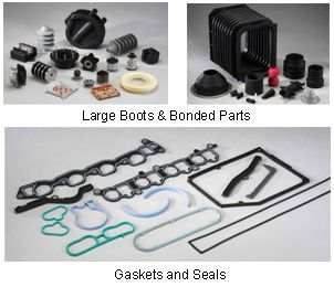 Large rubber boots, gaskets and seals from Desenco molds